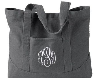 9511f56b493 Monogrammed Tote Bag - Personalized Canvas Tote Bag in 7 colors