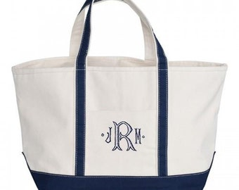 Navy Canvas Zipper Tote Bag - Monogrammed - LARGE Personalized Canvas Tote  Bag 072b41bd7a