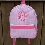 Small Seersucker Backpack, Seersucker Backpacks, child toddler backpack, monogram backpack, monogrammed backpacks, pink, navy blue, gray