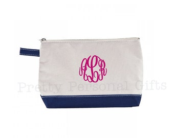 Navy Striped Toiletry Case Toiletry Bag with monogram  e0ef9bea3c07d