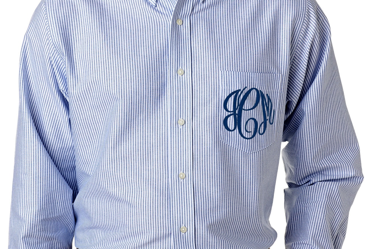 Striped Blue White Bridal Party Shirt Monogrammed Button Etsy