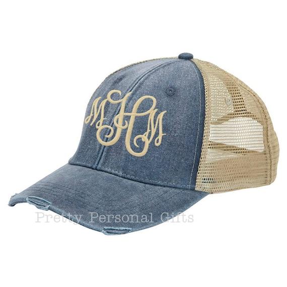 4a66ab0b2ecc9 Monogram Trucker Hat distressed with tan mesh back