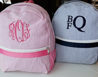 Monogrammed Seersucker Backpack in Pink, Navy and Gray, Toddler Backpack, Child's Backpack with Monogram