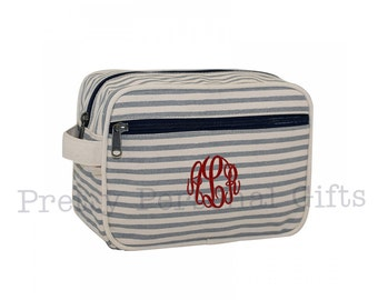 Gray Striped Toiletry Case - Toiletry Bag with monogram, Monogrammed Toiletry Case, Monogram Makeup Case, Monogram Dopp Kit, travel case