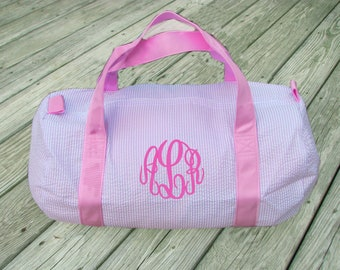 Seersucker Duffle Bag, Monogram Duffle Bag,  Monogram Duffel,  Pink Seersucker duffle, Navy Seersucker Duffle, Gray Seersucker Duffle Bag