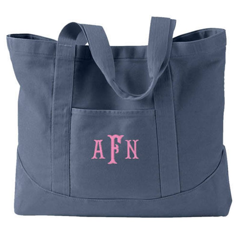 Personalized Canvas Tote Bag  in 7 colors Monogrammed Tote Bag