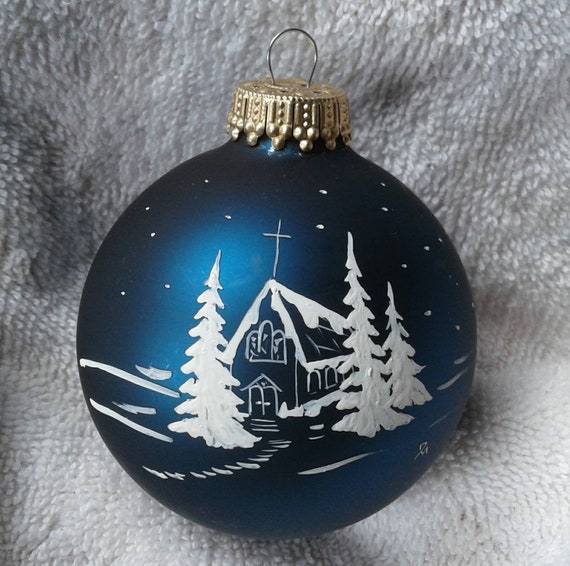 Hand Painted Church On A Christmas Ball Church In Winter Etsy