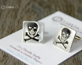 Skulls Cufflinks Gift for Him  Pure Silver Jewelry Skull and Crossbones Cufflinks