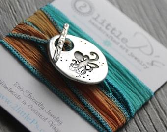 Silk Wrap Bracelet Nautical Beachy Octopus Beach Lover NEW DESIGN