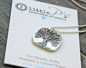 Tree of LIfe Pendant, 99 Percent Pure Silver Necklace, Handcrafted, Pure Silver, Sterling Silver Bead Chain