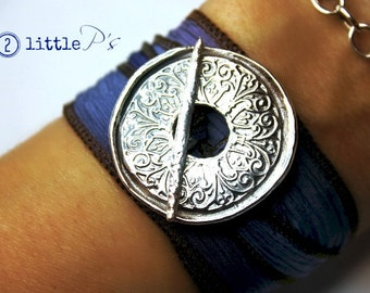 Mandala Wrap Bracelet  Happy  Handcrafted Silk Wrap Bracelet  Yoga Jewelry. Gift for Her