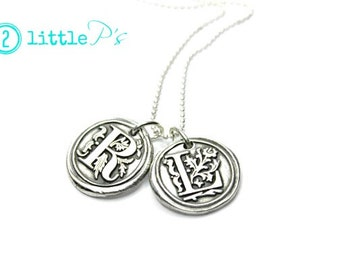 Wax Seal Jewelry  Gift for Her Personalized Jewerly Wax Seal Letter Charm Necklace
