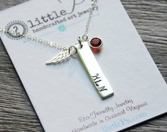 Sterling Silver Bar Initial Necklace Custom Sterling Silver Hand Stamped Memorial Angel Wing Necklace