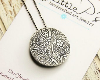 Paisley Pendant, 99 Percent Pure Silver Necklace, Handcrafted, Pure Silver, Eighties Pendant on 16 in Oxidized Sterling Silver Bead Chain