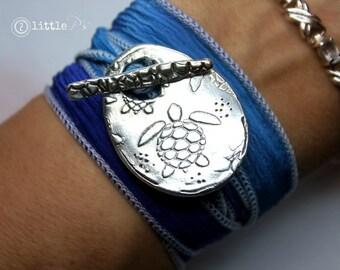 Sea Turtle Jewelry Nautical Jewelry  Blue Turtle Silk Wrap Bracelet