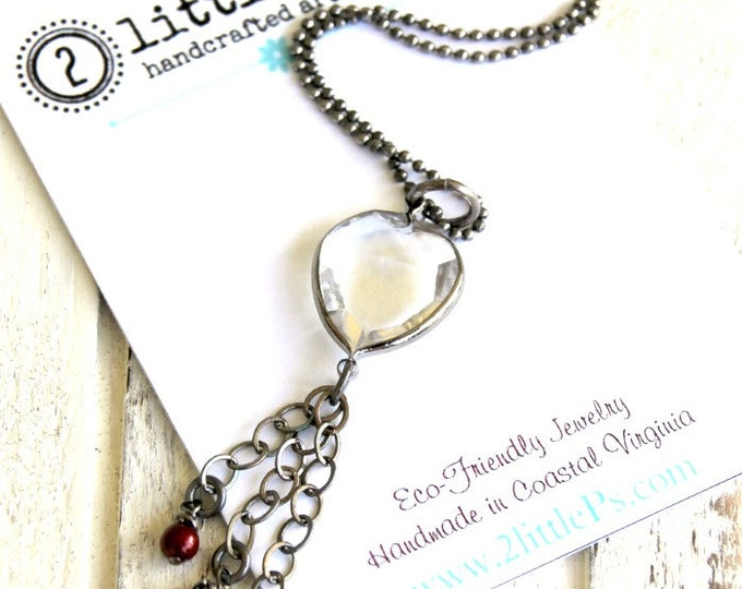 Featured listing image: As Seen on the Vampire Diaries, Vampire Jewelry ~ Clear Hearts Necklace, Crystal Heart Necklace, Handcrafted, Edgy Gift for Her