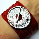 Mandala Jewelry  Happy  Handcrafted Pure Silver Mandala Silk Wrap Toggle Bracelet  Yoga Jewelry