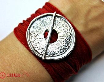 Mandala Jewelry  Handcrafted Pure Silver Mandala Silk Wrap Toggle Bracelet  Yoga Jewelry