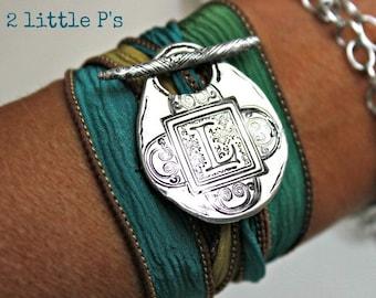 Wrap Bracelet, Monogram, Letter Jewelry ~ Personalized Silk Wrap Letter Bracelet