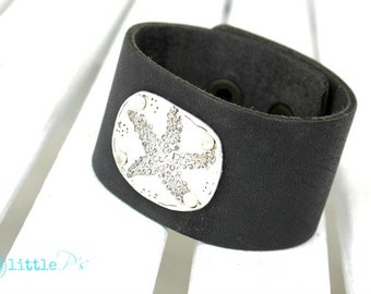 Beach Jewelry, Ocean Bracelet, The Northender ~  Starfish Leather Cuff