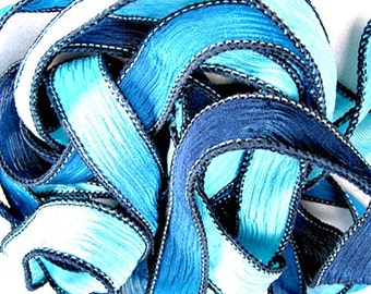 Silk Wrap Ribbon, Silk Ribbon Wrap ~ Hero Silk Wrap Ribbon - One Ribbon Sky Blue and Navy