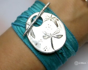 Silk Wrap Bracelet Dragonfly Jewelry Gift for Her Silk Wrap Bracelet Dragonfly Inspirational gift for her