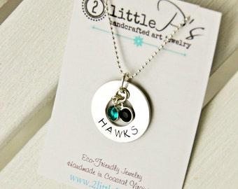 School Pride Jewelry Graduation Gift Custom Sterling Silver Hand Stamped College Pride Necklace, Spirit Wear