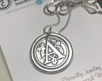 SHIPS TODAY Letter A Charm, Necklace, Mother's Day Gift, Mom Jewelry Custom Gift, Monogram Wax Seal Pendant  Personalized Gift