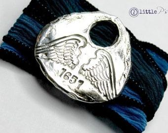 Silk Wrap Bracelet, Hero Angel Silk Wrap Bracelet by 2 little P's