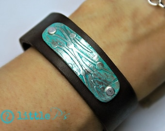 Beach Jewelry, Leather Cuff,Hand Painted Sea Grass Leather Cuff