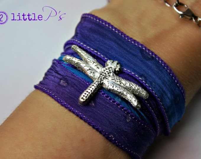 Featured listing image: Sweet Dragonfly Handcrafted Artisan Silk Wrap Bracelet