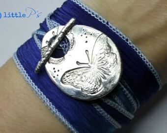Butterfly Love Artisan Cobalt Blue Blend Silk Wrap Bracelet