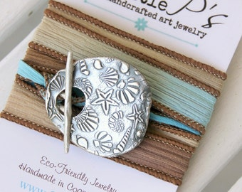 Ocean Jewelry ~ Silk Wrap Bracelet ~ gift for her, beach wedding