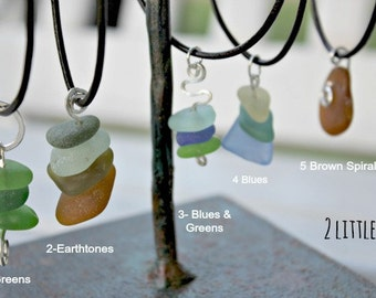 Handcrafted Wire Wrapped Sea Glass Pendants - OOAK
