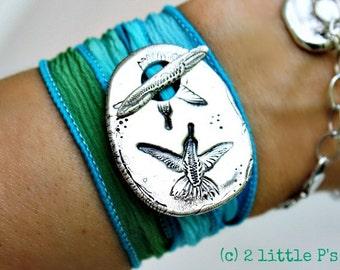 Handcrafted Sweet Hummingbirds Silk Wrap Bracelet