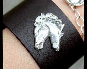 Pure Fine Silver Cowgirl Stallion Leather Cuff