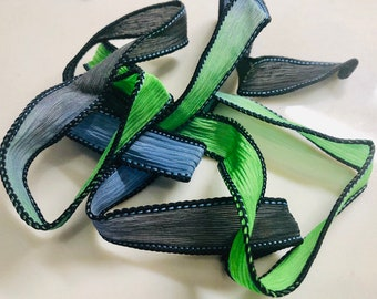 Silk Wrap Ribbon, Silk Ribbon Wrap ~ Lime Aid Silk Wrap Ribbon - One Ribbon