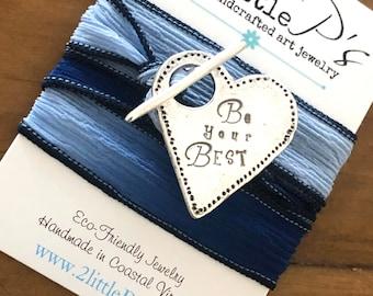 Your Heart Saying Goes Here Artisan Silk Wrap Bracelet Custom Silk Wrap Bracelet