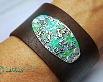Beach Jewelry, Ocean Jewelry, Sea-inspired Leather Cuff ~ Dancing Starfish, Nautical Beach Jewelry