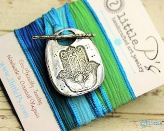 Hamsa Wrap Bracelet, 2 Little P's Hamsa Yoga Silk Wrap Bracelet, Gift for her