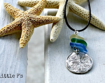 Beach Jewelry, Ocean Jewelry, Nautical ~ Silver Coastal Treasures Pendant with Seaglass