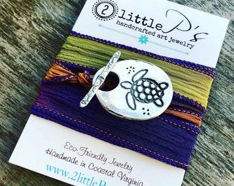 Silk Wrap Bracelet Nautical Beachy Sea Turtle Beach Lover NEW DESIGN