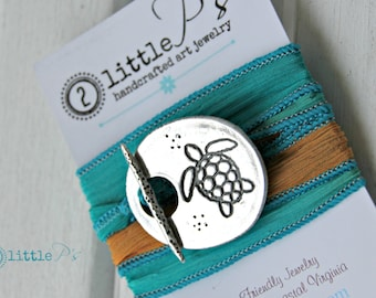 Keep Swimming - Sea Turtle Silk Wrap Bracelet in Special Gift Packaging