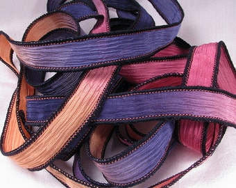Silk Wrap Ribbon, Silk Ribbon Wrap ~ Sunset Silk Wrap Ribbon - One Ribbon