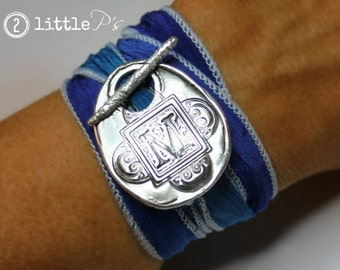 Graduation Gft, College Colors, Silk Wrap Bracelet, Personalized Gift for Her