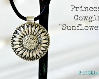 Cowgirl Jewelry ~ Sunflower ~ Pure Fine Silver Cowgirl Sunflower Pendant on Leather