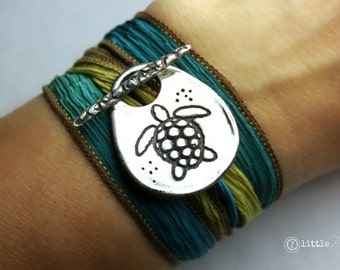Nautical Beachy Sea Turtle Silk Wrap Bracelet  Beach Lover NEW DESIGN
