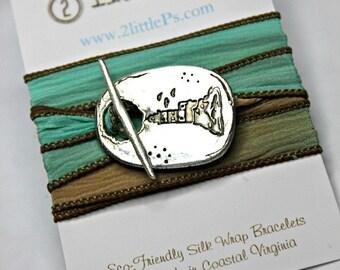 Beach Lover, Vacation Jewelry ~Nautical Jewerly ~ The Cape Henry Silk Wrap Bracelet, Lighthouse Bracelet
