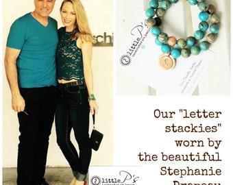Worn by Stephanie Drapeau ~ Letter Charm Bracelet, Mosiac Beaded Stackies Bracelets, Gift for Her, Bead Love