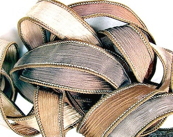 Silk Wrap Ribbon, Silk Ribbon Wrap ~ Mocha and Sand Silk Wrap Ribbon - One Ribbon